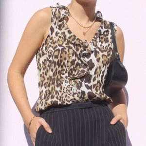 Ruffled Cheetah Print Tank Top